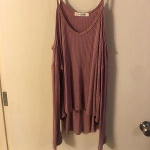 Off the shoulder mauve sweater